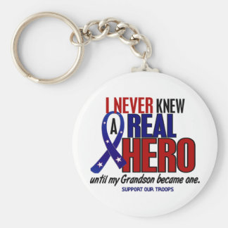 Never Knew A Hero 2 Grandson (Support Our Troops) Basic Round Button Keychain