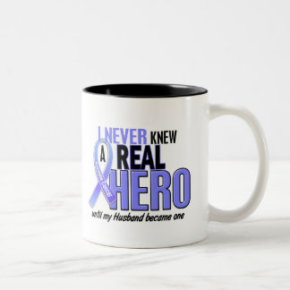Never Knew A Hero 2 Husband Prostate Cancer Two-Tone Coffee Mug