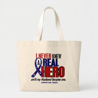 Never Knew A Hero 2 Husband (Support Our Troops) Jumbo Tote Bag