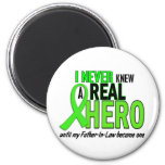 Never Knew A Hero 2 LIME GREEN (Father-In-Law) Refrigerator Magnets