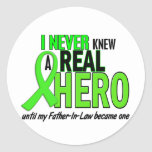 Never Knew A Hero 2 LIME GREEN (Father-In-Law) Round Stickers