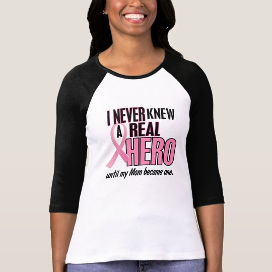 Never Knew A Hero 2 Mom Breast Cancer T-Shirt