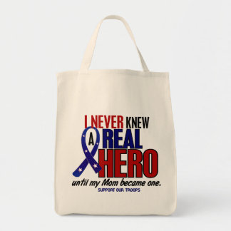 Never Knew A Hero 2 Mom (Support Our Troops) Grocery Tote Bag