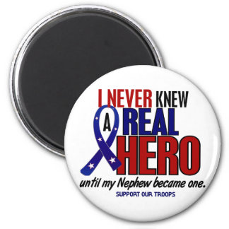 Never Knew A Hero 2 Nephew (Support Our Troops) 2 Inch Round Magnet
