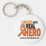 Never Knew A Hero 2 ORANGE (Dad) Basic Round Button Keychain