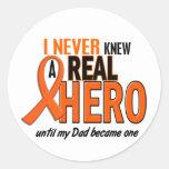 Never Knew A Hero 2 ORANGE (Dad) Classic Round Sticker