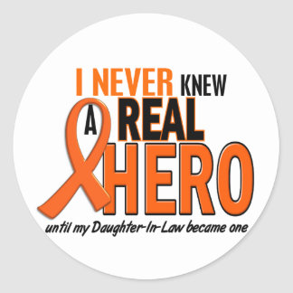 Never Knew A Hero 2 ORANGE (Daughter-In-Law) Classic Round Sticker