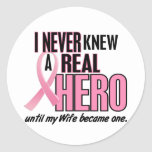 Never Knew A Hero 2 PINK (Wife) Classic Round Sticker