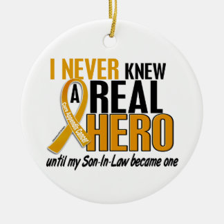 Never Knew a Hero 2 Son-In-Law Appendix Cancer Christmas Tree Ornament