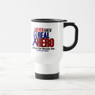 Never Knew A Hero 2 Son (Support Our Troops) 15 Oz Stainless Steel Travel Mug
