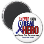 Never Knew A Hero 2 Son (Support Our Troops) 2 Inch Round Magnet