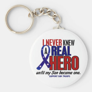 Never Knew A Hero 2 Son (Support Our Troops) Basic Round Button Keychain