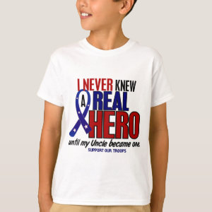 Never Knew A Hero 2 Uncle (Support Our Troops) T-Shirt