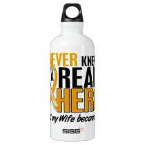 Never Knew a Hero 2 Wife Appendix Cancer Water Bottle