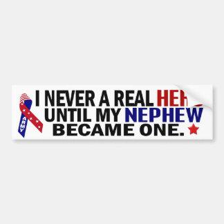 Never Knew A Hero ARMY Nephew Bumper Sticker