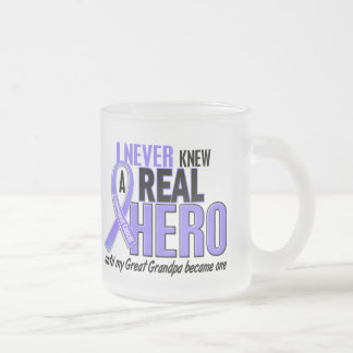 Never Knew A Hero Great Grandpa Esophageal Cancer Frosted Glass Coffee Mug