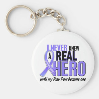 Never Knew A Hero Paw Paw Esophageal Cancer Keychain