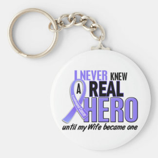 Never Knew A Hero Wife Esophageal Cancer Keychain