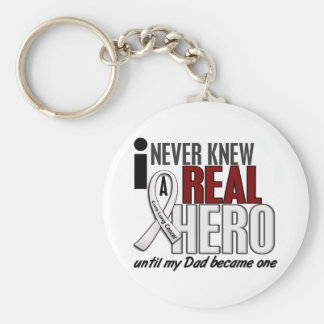 Never Knew A Real Hero 2 Dad Lung Cancer Keychain