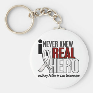 Never Knew A Real Hero 2 Father-In-Law Lung Cancer Keychain