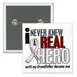 Never Knew A Real Hero 2 Grandfather Lung Cancer Button