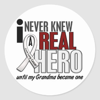 Never Knew A Real Hero 2 Grandma Lung Cancer Stickers