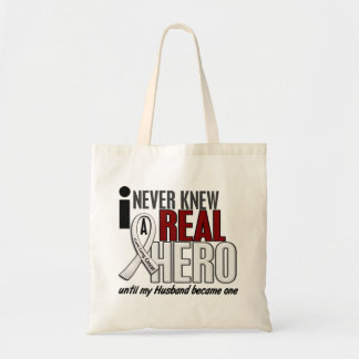 Never Knew A Real Hero 2 Husband Lung Cancer Budget Tote Bag