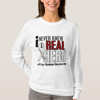 Never Knew A Real Hero 2 Husband Lung Cancer T-Shirt