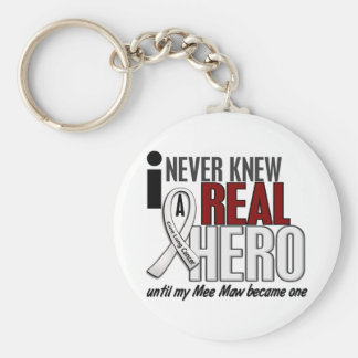Never Knew A Real Hero 2 Mee Maw Lung Cancer Basic Round Button Keychain