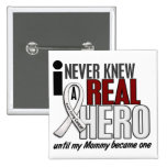 Never Knew A Real Hero 2 Mommy Lung Cancer Buttons
