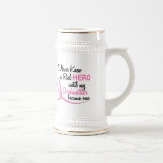 Never Knew A Real Hero 3 Godmother BREAST CANCER 18 Oz Beer Stein