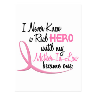 Never Knew A Real Hero 3 Mother-In-Law BREAST CANC Postcard