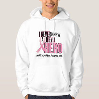 Never Knew A Real Hero MOM (Breast Cancer) Hooded Pullover