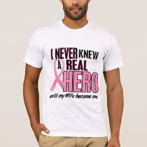 Never Knew A Real Hero WIFE (Breast Cancer) T-Shirt