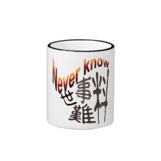 Never know coffee mug
