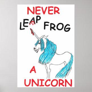 never leapfrog a unicorn poster