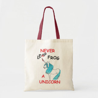 never leapfrog a unicorn tote bag