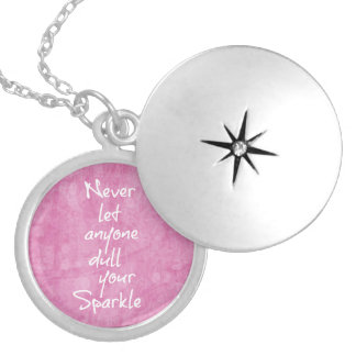 Never let anyone dull your sparkle Quote Silver Plated Necklace
