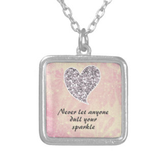Never let anyone dull your sparkle square pendant necklace