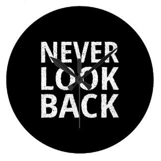 Never Look Back - Inspiring Retro Typography Large Clock