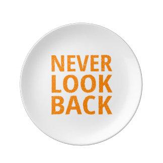 Never Look Back Orange Retro Typography Plate