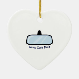 Never Look Back Double-Sided Heart Ceramic Christmas Ornament
