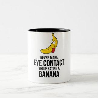 Never Make Eye Contact While Eating A Banan Two-Tone Coffee Mug
