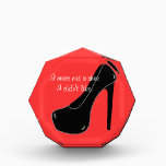 """Never met a Shoe Acrylic Award<br><div class=""""desc"""">This fun design features a black stiletto high heel on a red background along with text that reads,  I never met a shoe I didn&#39;t like. The text can easily be changed or removed. Easily customize the background color by clicking Customize It,  Edit and Background.</div>"""