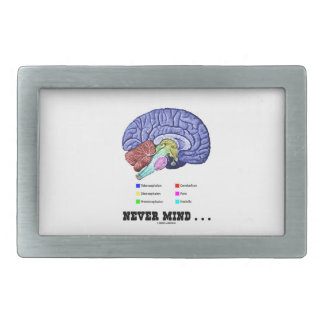 Never Mind ... (Brain Anatomy Psyche Humor) Belt Buckle