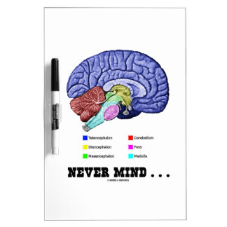 Never Mind ... (Brain Anatomy Psyche Humor) Dry Erase Whiteboards