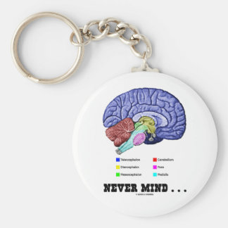 Never Mind ... (Brain Anatomy Psyche Humor) Keychain