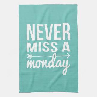 Never Miss a Monday | Teal Aqua Fitness Quote Towel