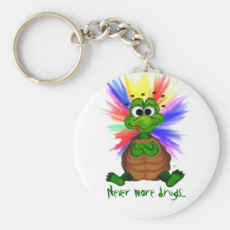 Never more drugs… basic round button keychain