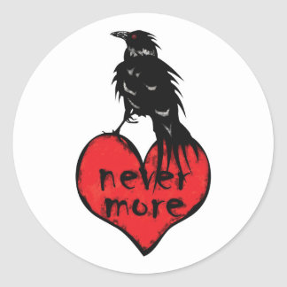 Never More Raven Classic Round Sticker